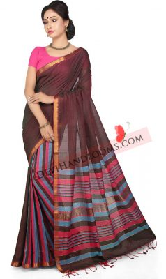claret-color-handloom-mangalagiri-cotton-saree-front-view
