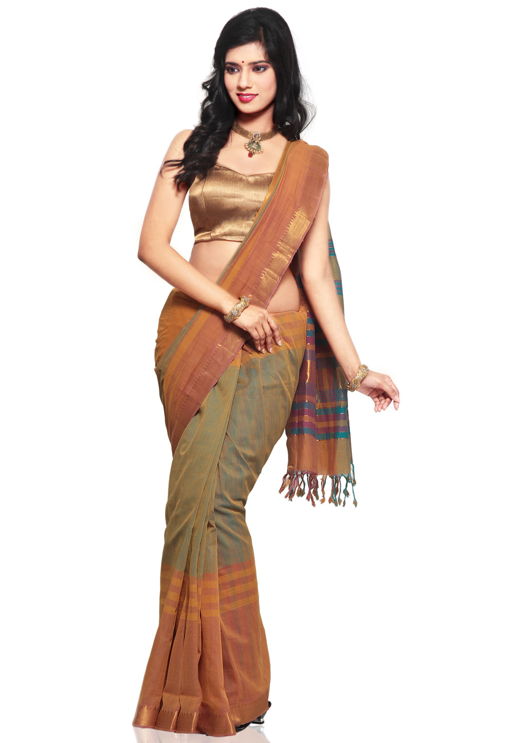 Light Orange with Light Green Color Mangalagiri Handloom Cotton Saree - front view
