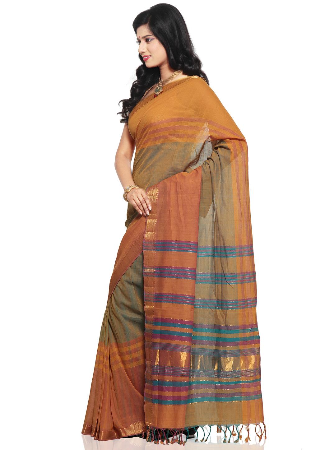 Light Orange with Light Green Color Mangalagiri Handloom Cotton Saree - side view (1)