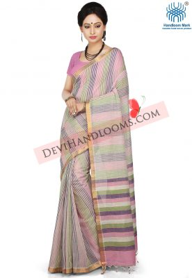 Multi Color striped mangalagiri cotton saree- front view
