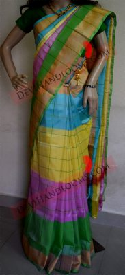 Multi color uppada silk saree full vieww