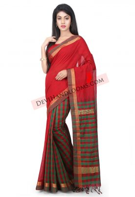 Red Color Mangalagiri HandLoom Saree - front view