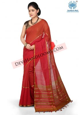 Red color mangalgiri cotton saree - front view