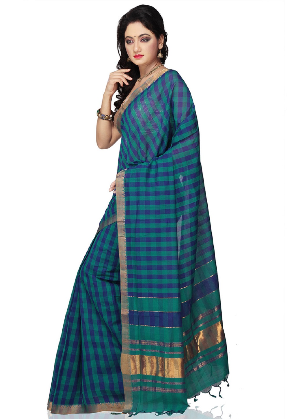 Teal Blue Color Mangalagiri Handloom Cotton Saree - side view (1)