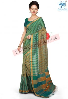 Teal Green Color Mangalagiri Handloom Cotton Saree - front view