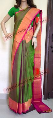 Uppada Green Color silk saree full view