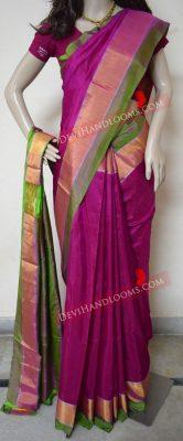 uppada-pink-color-plain-silk-saree-front-view