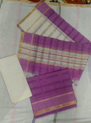 Violet Color Mangalagiri Cotton dress material
