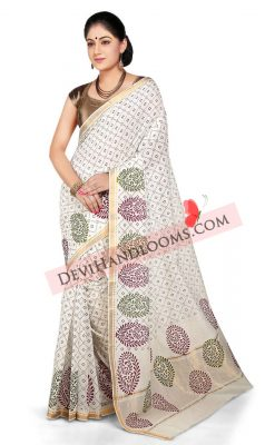 white-color-screen-printed-handloom-cotton-saree-fornt-view