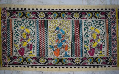 kalamkari hand painted cotton dupatta-6-65
