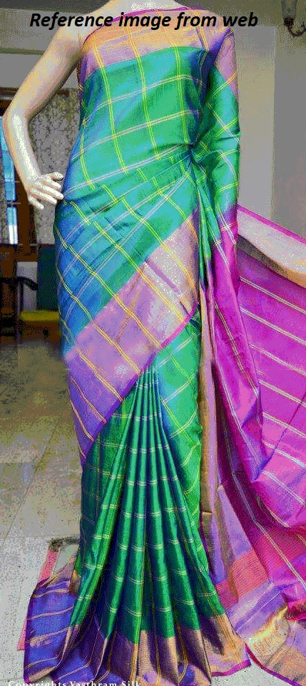Uppada SeeGreen color with double checks Big Border Silk Saree