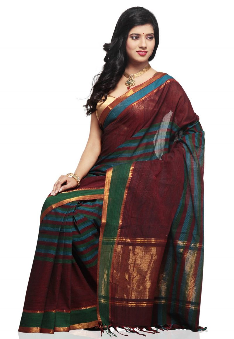 Brown Color Mangalagiri HandLoom Saree front view