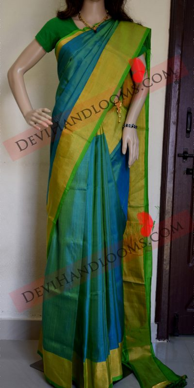 Aqua Blue Uppada Silk saree front full view