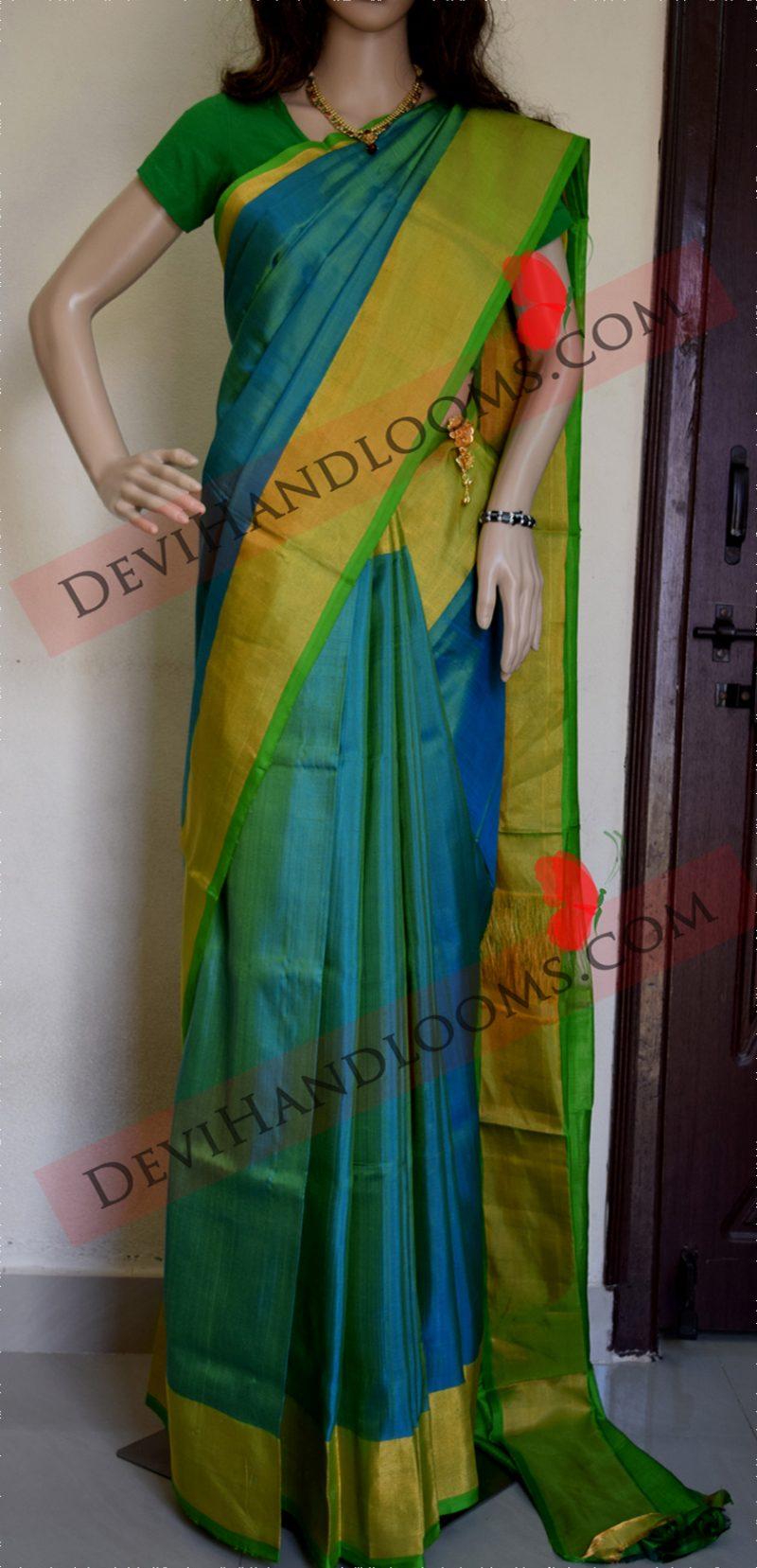 Aqua Blue Uppada Silk saree front full view