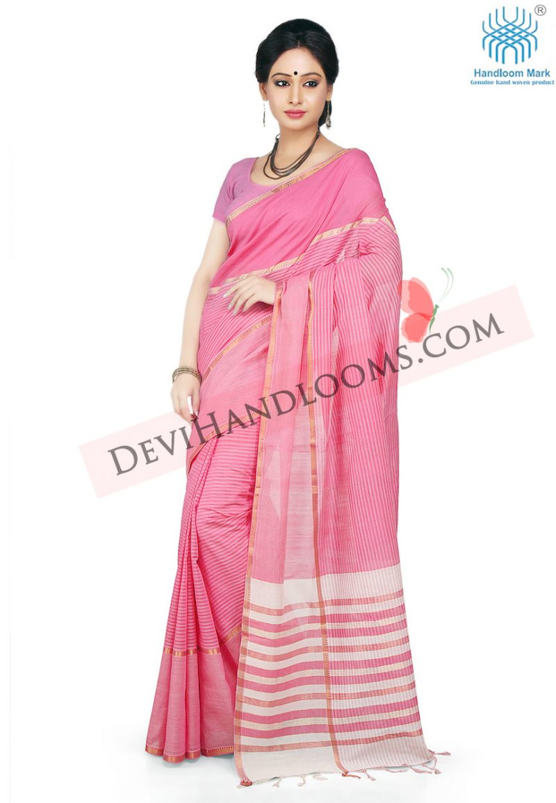 baby-pink-color-mangalagiri-cotton-saree-with-blouse-side-view