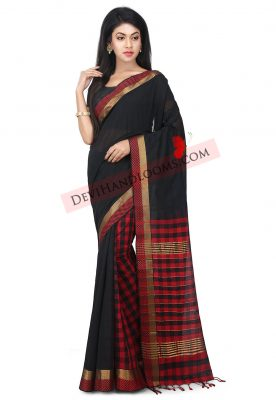Balck Color Mangalagiri HandLoom Cotton Saree - front view