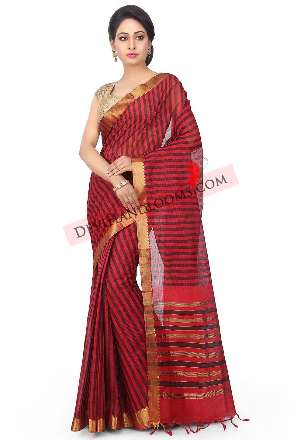 Balck with red mangalagiri handloom cotton saree full view