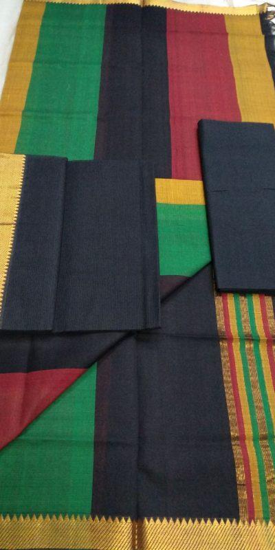 Black Color Mangalagiri Cotton Dress materials-1