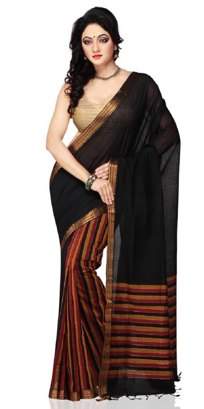 Black Color half and half Mangalagiri Handloom Cotton Saree-front view