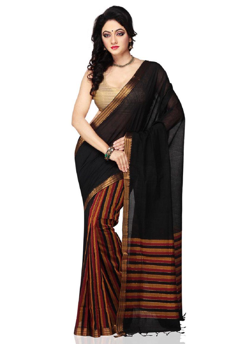 Black Color half and half Mangalagiri Handloom Cotton Saree-front view