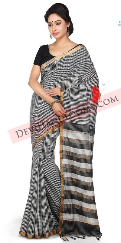black checks mangalagiri cotton saree front view
