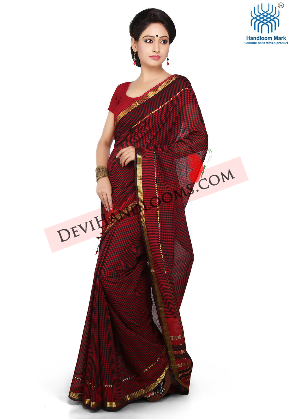 black-with-red-color-checks-mangalagiri-cotton-saree-with-blouse-front-view