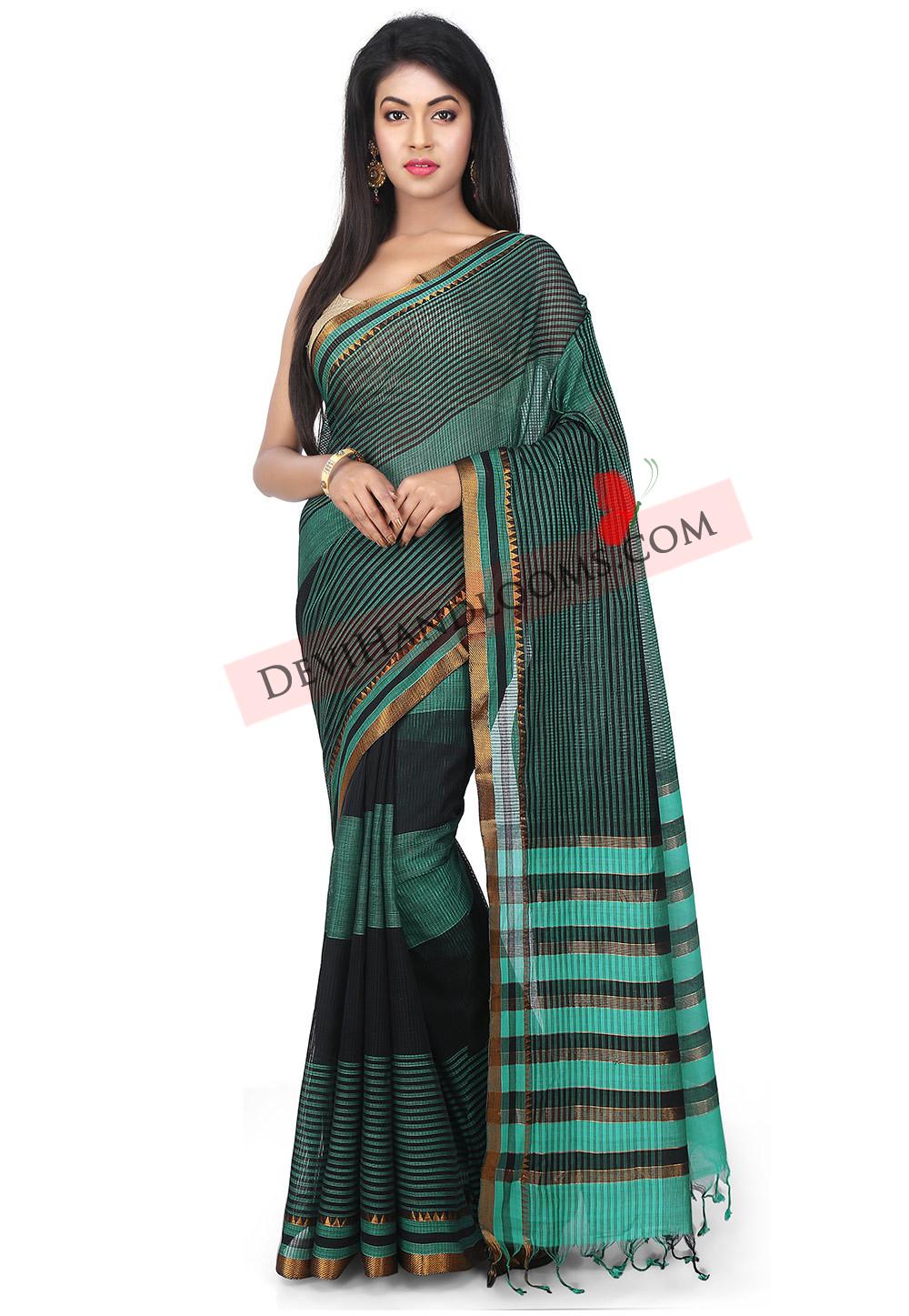 Black with Turquoise Mangalagiri Handloom Saree (3)
