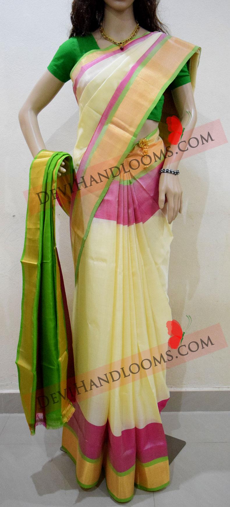 cream-color-uppada-plain-silk-saree-1