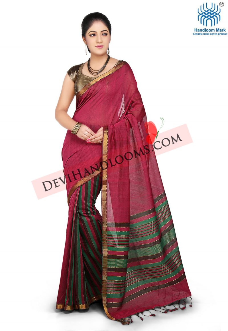crimson-color-mangalagiri-cotton-saree-front-view