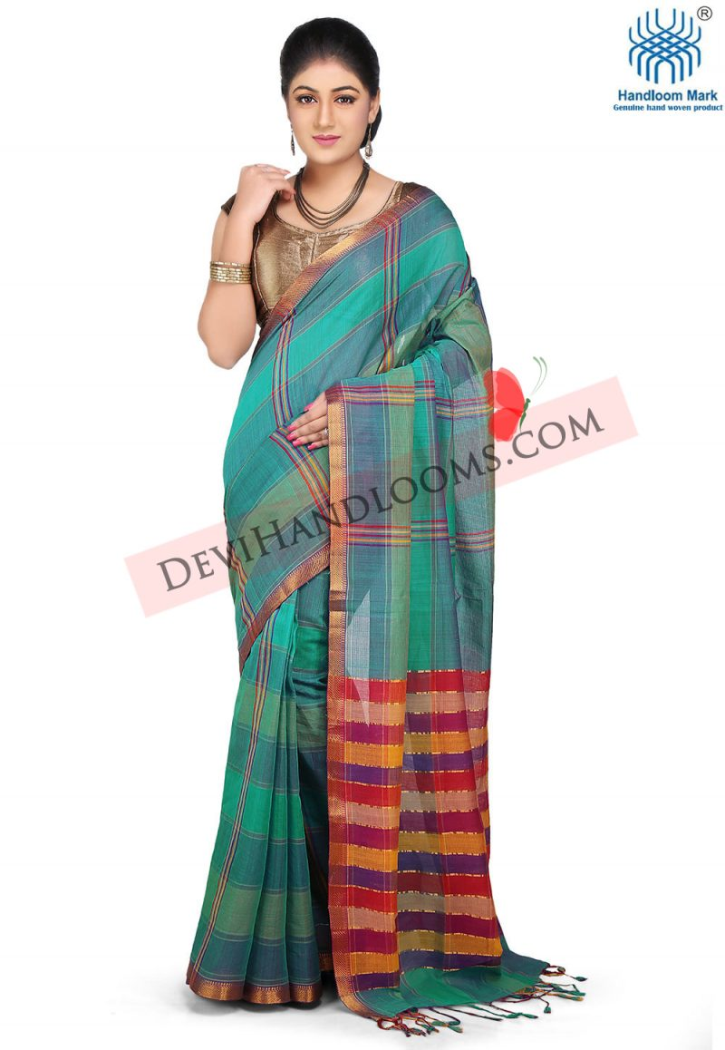 cyan-color-checked-mangalagiri-cotton-saree-front-view