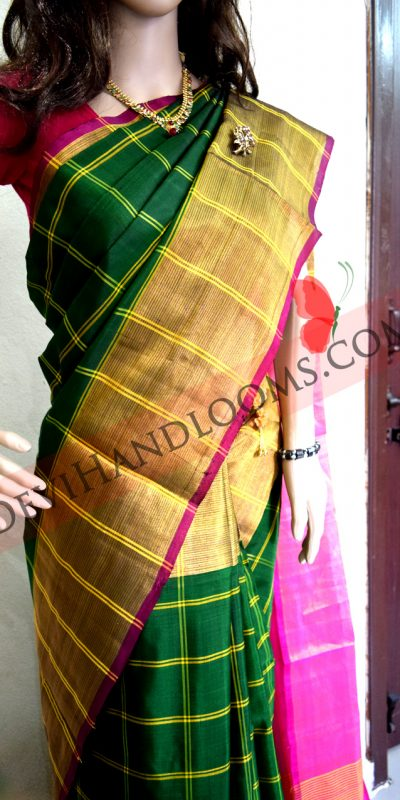 Uppada Forest Green Color Big Checks with Big border Silk saree-1