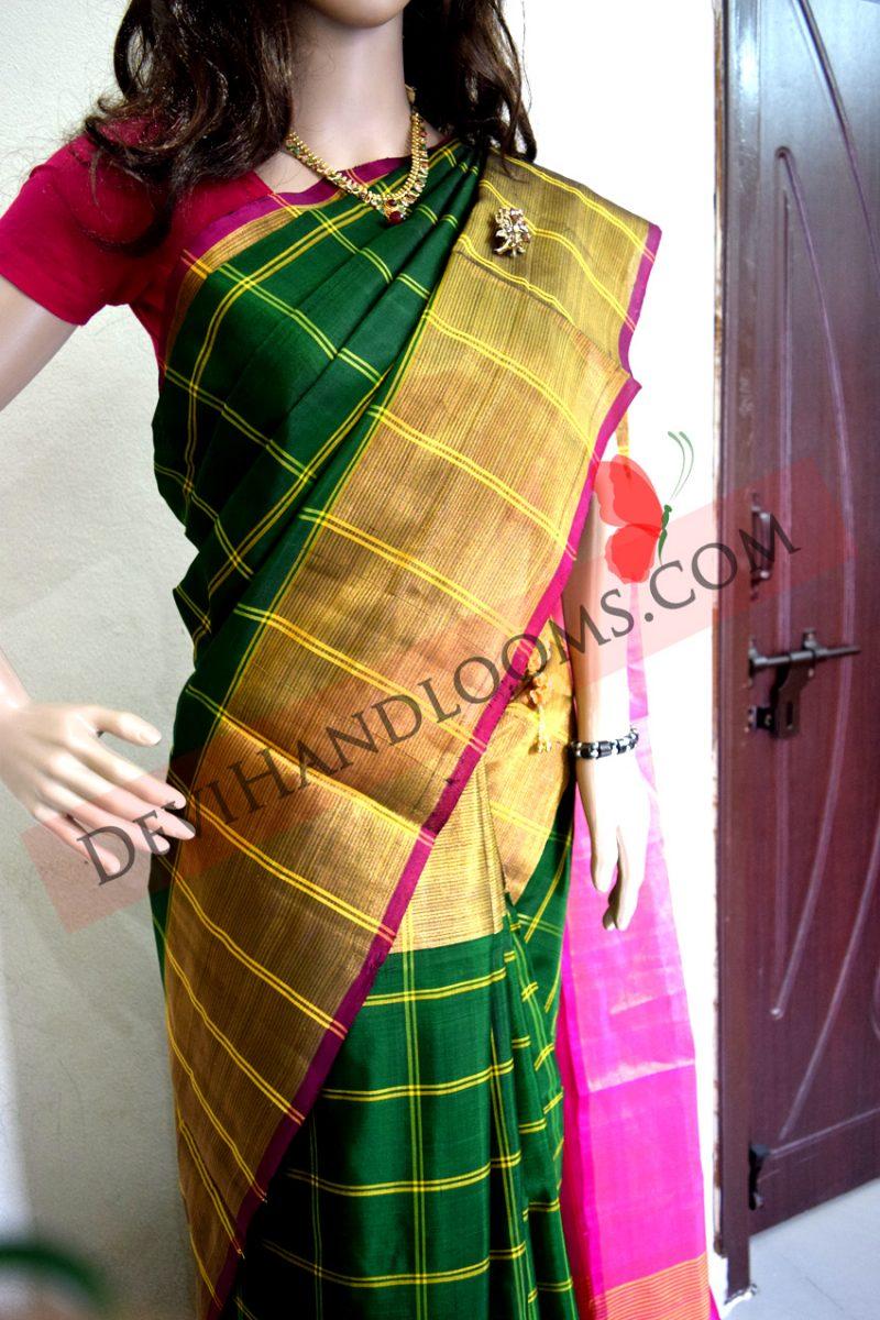 Uppada Forest Green Color Big Checks with Big border Silk saree-1
