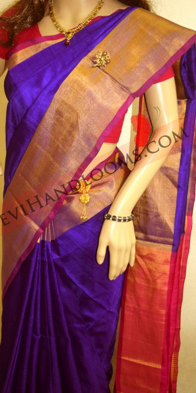 Uppada Dark Blue Color Big Border Silk saree-1