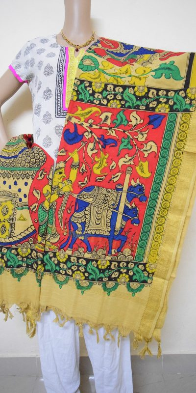 Farmer with bullock cart Hand Painted Kalamkari Design Stole