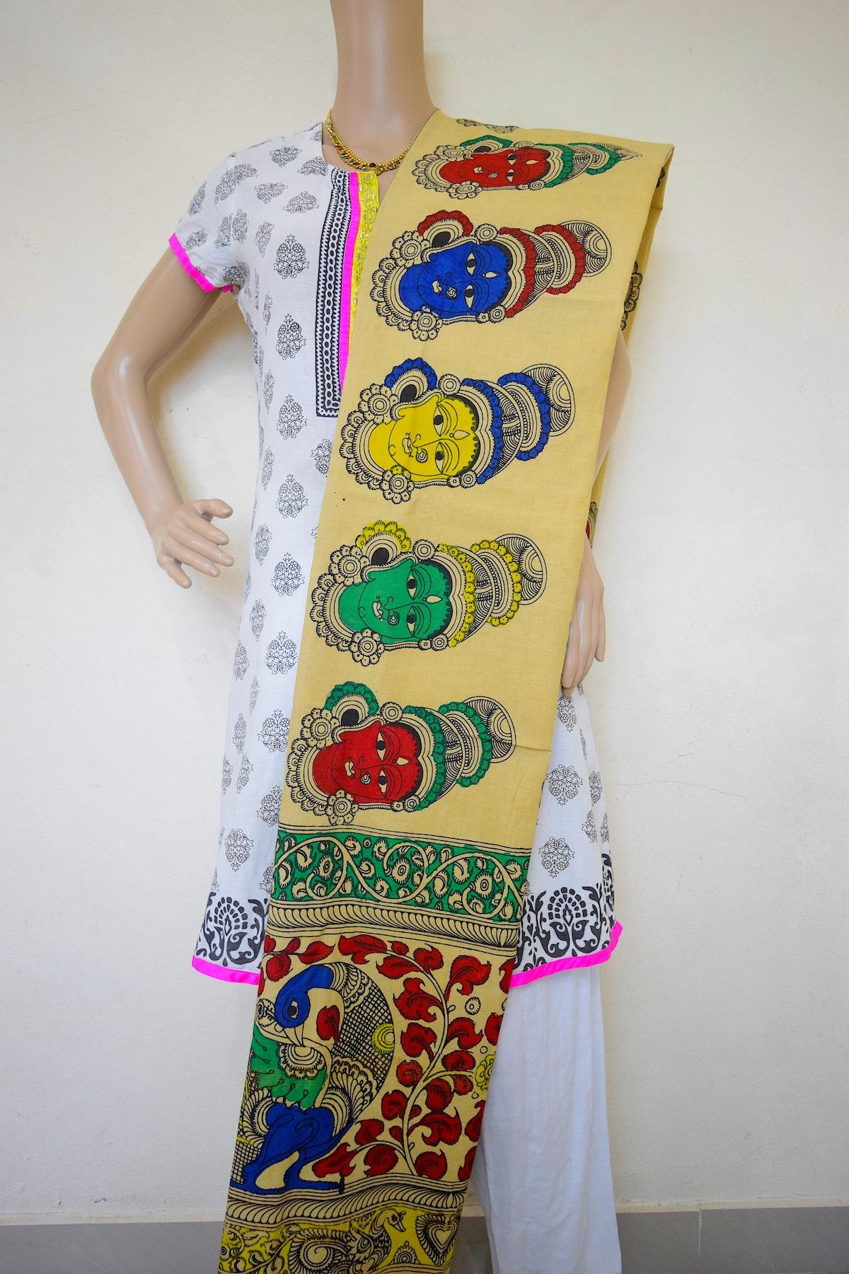 Kalamkari Telugu Talli Hand Painted Design Stole