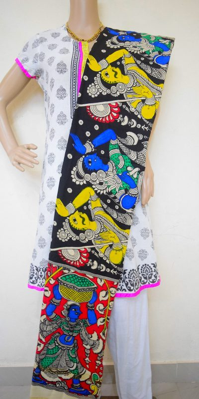 Kalamkari Ancient Village Hand Painted Design Stole