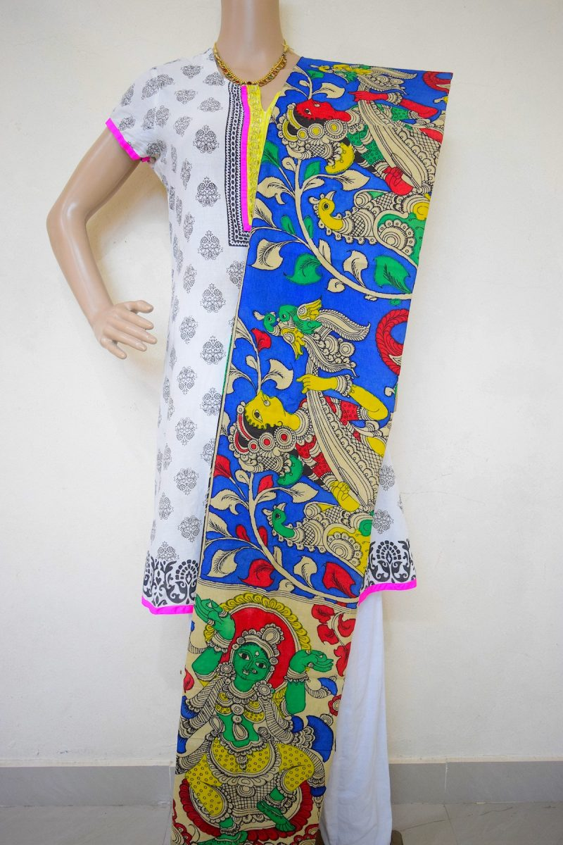 Kalamkari Ancient Design of Queen Playing Veena Instrument Hand Painted Design Stole-1