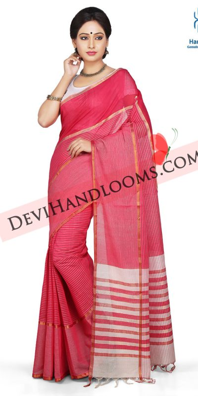 Dark Pink Color mangalagiri Cotton saree-1