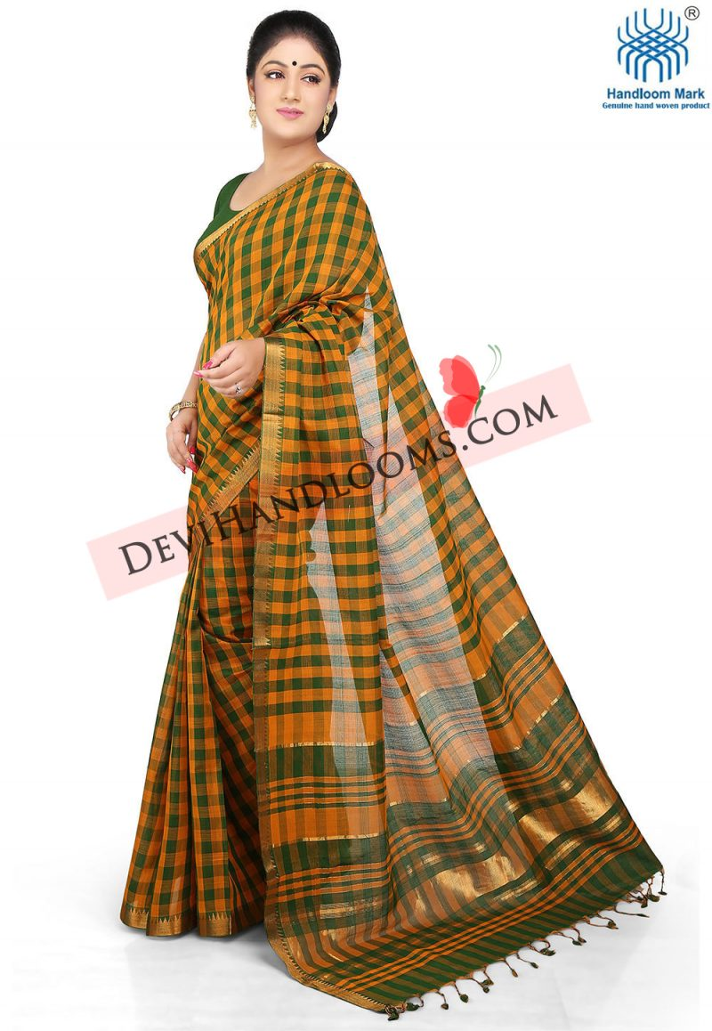 dark-yellow-color-mangalagiri-handloom-saree-1