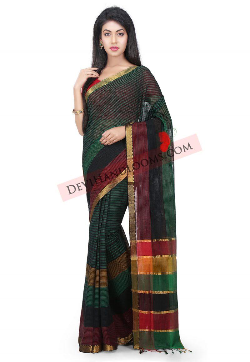 Green Color Kota Mangalagiri Handloom Cotton saree- front view