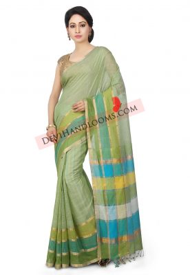 Handloom-Mangalgiri-Cotton-Saree-in Pastel-Green (3)