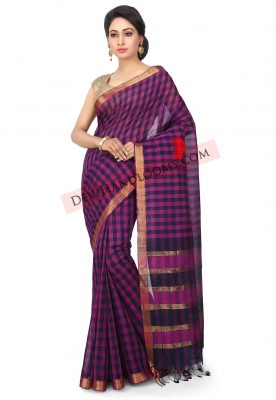 Handloom-Mangalgiri-Cotton-Saree-in-Purple-and-Black (3)