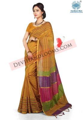 Light Orange Color Mangalagiri Cotton Saree - front view