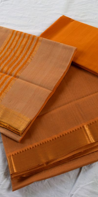 Mangalagiri Biscuit Color Cotton Dress material-1