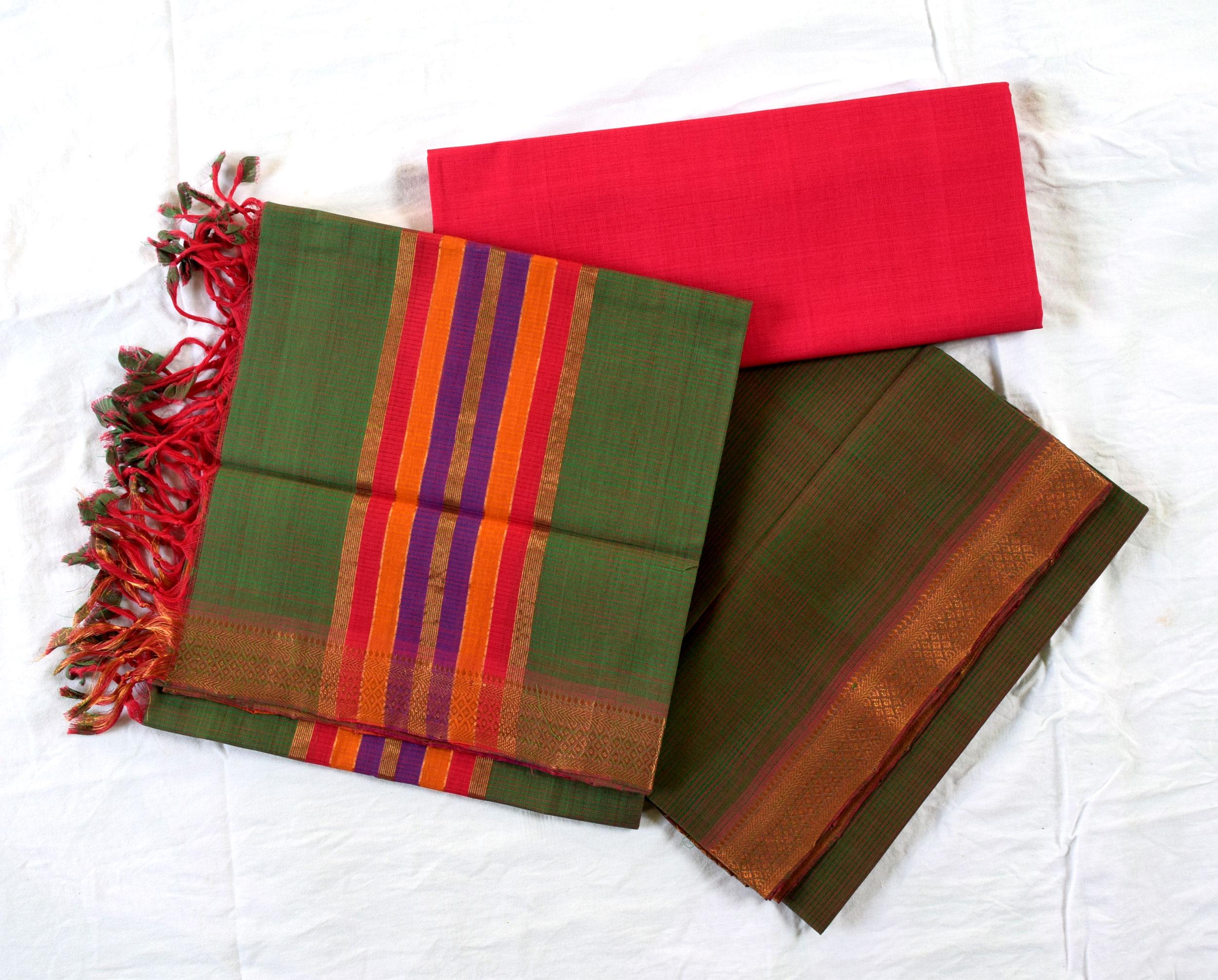 Mangalagiri Green Dual Shade Cotton Dress materials-1