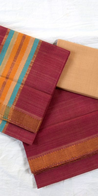 Mangalagiri-Handloom-Onion Color cotton dress material1-