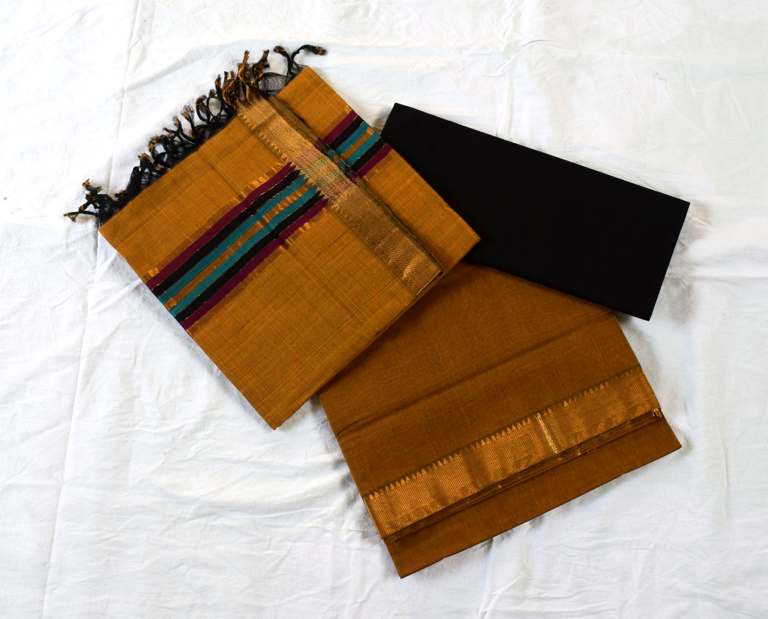 Mangalagiri Musturd with Black Cotton Dress material-1