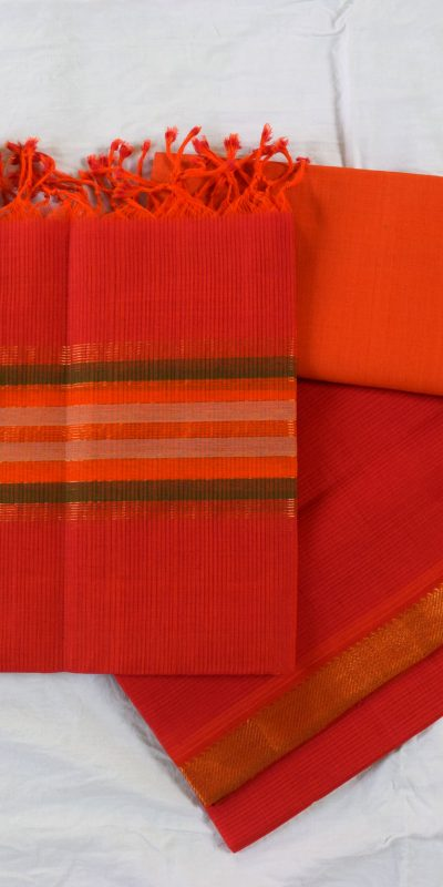 Mangalagiri Rose Color Cotton Dress materials-1