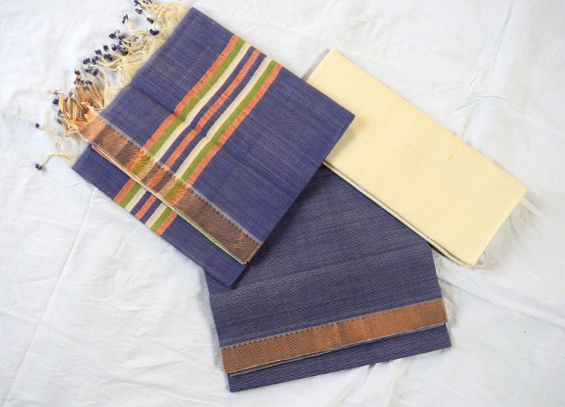 Mangalagiri Violet Color Cotton Dress material-1