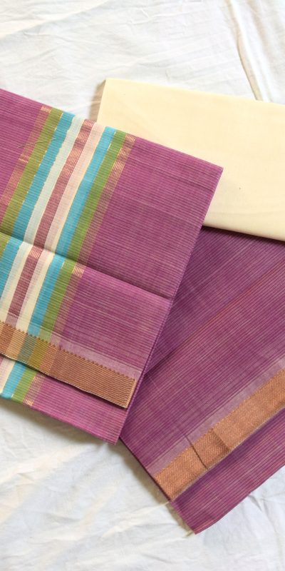 Mangalagiri light purple Color Cotton Dress material-5